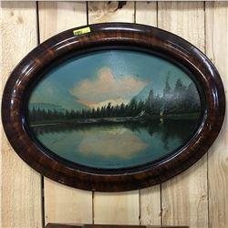 "Framed Oval Painting ""Jack Lake, Alta"""