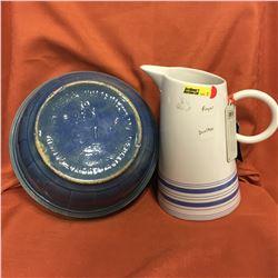 Royal Doulton Pitcher & Blue Redcliff Pottery Bowl