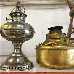 Rayo Kerosene Lamp & Large Valor Heater Lamp Font (Brass)