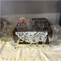 Wooden Box Lot: Variety Crystal / Clear Glass