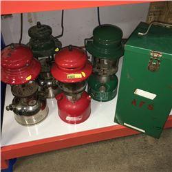 4 Coleman Lantern Collection (2 Red Base & 2 Chrome Base)
