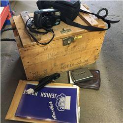 Grenade Wood Crate w/Contents (Vintage Camera's & Blueprints)