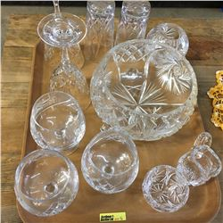 Tray Lot: Crystal 11 Pieces