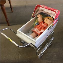 Vintage Doll Pram w/Cabbage Patch Doll in Orig. Clothes