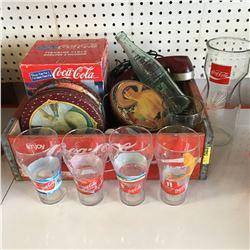 Coca-Cola Wood Tray w/Coca-Cola Collectibles (Bottles, Phone, Clock, etc)