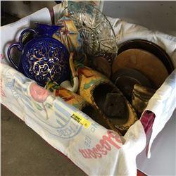 Tote Lot: Wooden Dutch Shoes, Pipe, Bell, Crock Lids, Decanters, Flour Sacks, etc !