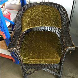 Wicker Chair - Green Velvet Upholstery