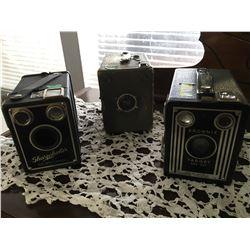 "Camera Trio (Box Style) ""Brownie"" & ""Sharpshooter"" & ""Warwick"""