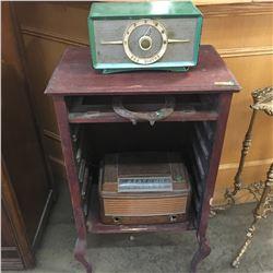 Music Cabinet (no door) with 2 Electric Radios & Horseshoe