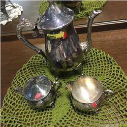 Leonerd Silver Plated Coffee Pot & Cream & Sugar