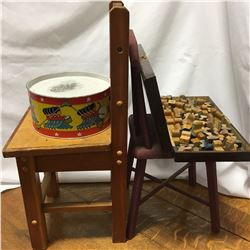 2 Small Children's Chairs, Vintage Letter/Number Stamp Wooden Stamp Set & Tin Drum