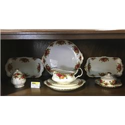 """Royal Albert """"Old Country Rose"""" : 8 Pieces (Incl: Gravy Boat, Cake Plates, Butter Dish, Jam Jar)"""