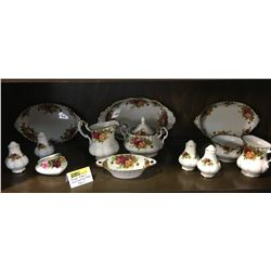 """Royal Albert """"Old Country Rose"""" : 13 Pieces (Incl: 2 Cream & Sugar, 2 S&P, Candy Dish, Ornament, Ova"""