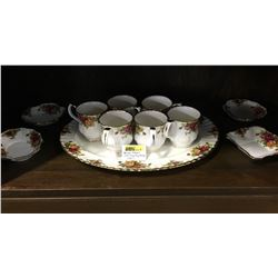 """Royal Albert """"Old Country Rose"""" : 11 Pieces (Incl: Platter, 6 Mugs, 4 Candy Dishes)"""