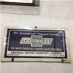 1920's Chevrolet Cardboard Advertisement