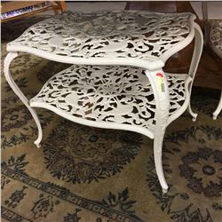 2 Cast Iron - Ivory Color - Side Tables - Bird Pattern