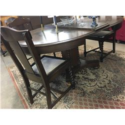 Jacobean/Barley Twist Dining Table (3 Leaves) & Chairs (5 Dining & 1 Arm) (Maker: Owen Sound Chair C