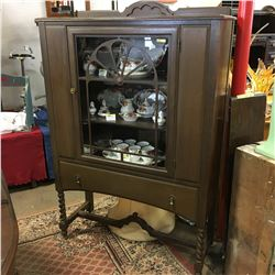 Jacobean/Barley Twist China Cabinet (Maker: Owen Sound Chair Co.)