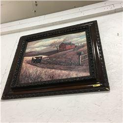Framed Picture (Horse & Buggy Farm Scene)