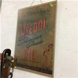 """Veedol Oil"" Cardboard Advertisement 28"" x 20"""