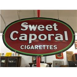 """Oval Porcelain Double Sided Sign """"Sweet Caporal Cigarettes"""" (5' x 3')"""