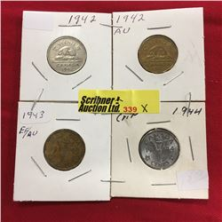 Canada Five Cent - Group of 4: 1942; 1942; 1943; 1944