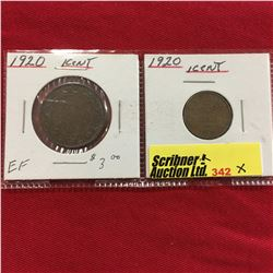 Canada One Cent - 1920 Large Cent & 1920 Small Cent