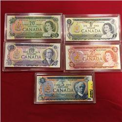 Canada Bills - Encased (5) : $1 Bill Crow/Bouey S/N#ALV3733708 $2 Bill Lawson/Bouey S/N#AGJ2735639 $