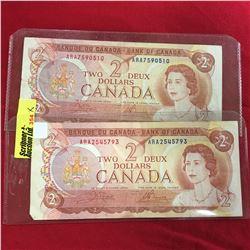 Canada $2 Bills: Crow/Bouey S/N#ARA7590510 Crow/Bouey S/N#ARA2545793