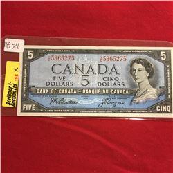 Canada Five Dollar 1954 Beattie/Coyne S/N#YC5365275