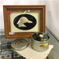 """Framed Art by """"Canadian Native Authentic Caribou Hair Tuftings & Sculptures"""" 1997 & DU Watch & DU Pi"""