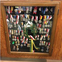Framed Display of European Sports Medals (80+) (Niederlenz Switzerland 1953 Sash/Crown)