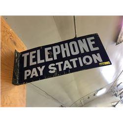 """Telephone Pay Station"" Double Sided Enamel Flange Sign (18"" x 8"")"