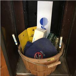 Basket Lot - AGT Grouping: Signs, Cap, Screwdrivers, Insulators, etc