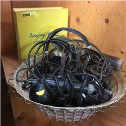Basket Lot - Vintage Headphones, Microphone, Insulator, Telephone Alberta Book