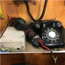 Tray Lot: BELL Theme (Junction Box, Tin Sign, Service Phones, Rotary Phone)