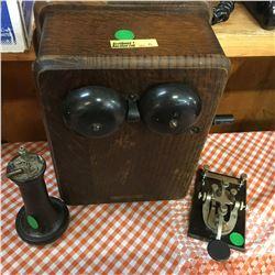 Antique Communication Trio: Kellogg Ringer, Telegraph Key, Ear Piece
