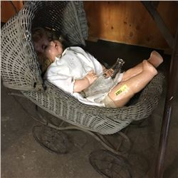 "Doll Pram w/Antique Doll & Vintage Baby 2 Open Ends Bottle ""Cherub"""