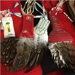 Native Smudge Fans (4) & Latch Hook Wall Hanging