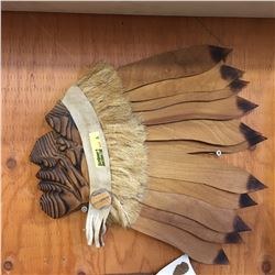 Wooden Indian Chief Wall Plaque