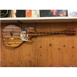 Elvis Presley Laminated Wood Guitar Shape Wall Clock