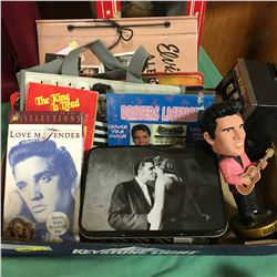 Elvis Presley Tray Lot - Collectibles (Lunch Box, Bobble Head, Drivers Lic, VHS, etc)