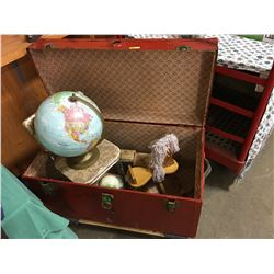 Red Truck w/Contents (Rocking Horse, Globe, Child's Chair, Crayon Boxes, etc)
