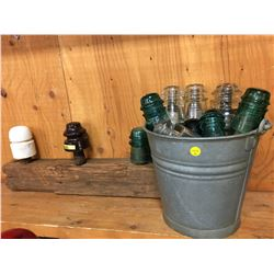 Galvanized Pail w/Insulators/Stems & Insulator Post Display