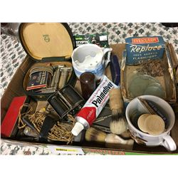 Tray Lot: Gentleman's Grouping (Razors, Brushes, Cups, Sharpener, Flashlight Lense Display, Cream, S