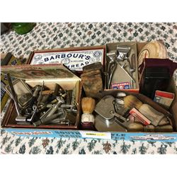 Tray Lot: Gentleman's Grouping (Sharpener, Brushes, Razors, Clippers, Strop, Barbour's Shoe Thread B