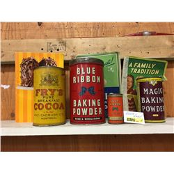 Bakers Group ! Tins (Fry's Cocoa, Blue Ribbon (2), Magic Baking Powder) + Books