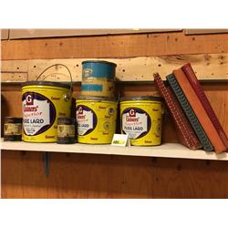 Kitchen Grouping ! Gainers' Pure Lard Tins (3), Alberta Honey Tin, Royal Shield Tins (2) + 5 Cook Bo