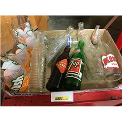 Tray Lot: Pop Bottles & Glasses & Mini Bottles (Crush, 7-UP, Kik, Pepsi, etc)