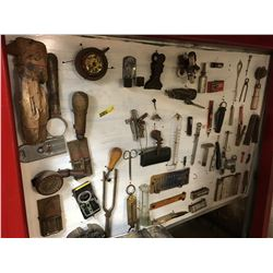 Hand Crafted Display Board w/Variety of Interesting Antique Items !!!